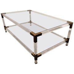 Lucite and Brass Coffee Table by Charles Hollis Jones, 1970s