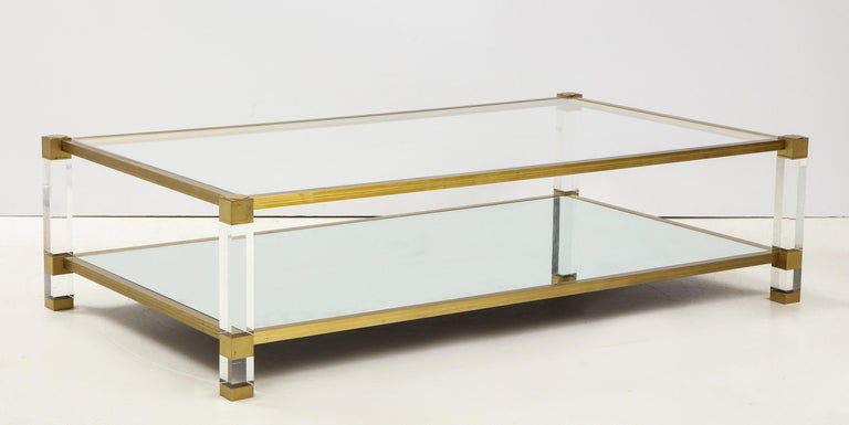 20th Century Lucite and Brass Coffee Table For Sale