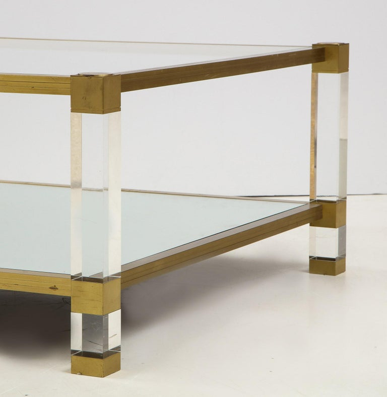 Lucite and Brass Coffee Table For Sale 1
