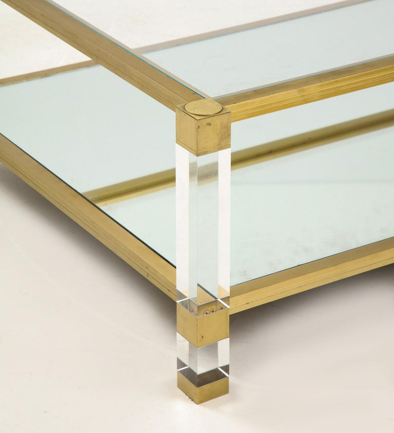 Lucite and Brass Coffee Table For Sale 2