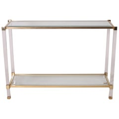 Lucite and Brass Console, circa 1950