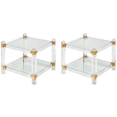 Lucite and Brass French Modernist Side Tables