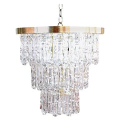 Lucite and Brass Icicle Chandelier