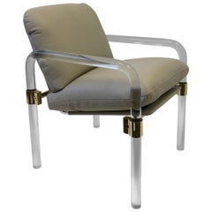 Lucite and Brass Leather Armchair by Jeff Messerschmidt