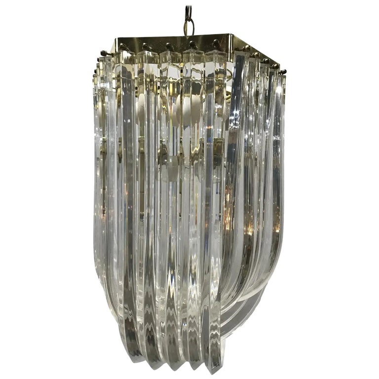 Lucite and Brass Mid-Century Modern Chandelier For Sale