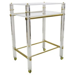 Lucite and Brass Mid-Century Modern Rolling Bar Cart Trolley Tea Table Stand