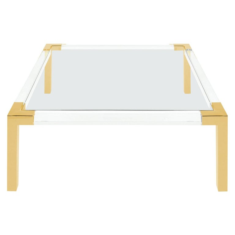 Lucite and Brass Modern Square Coffee Table with Glass For Sale