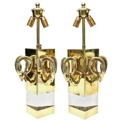 Lucite and Brass Ram's Head Hollywood Regency Wall Sconces Vintage