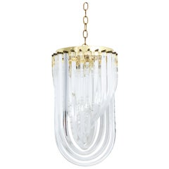Lucite and Brass Ribbon Chandelier