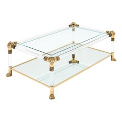 Lucite and Brass Vintage Coffee Table by Raphael