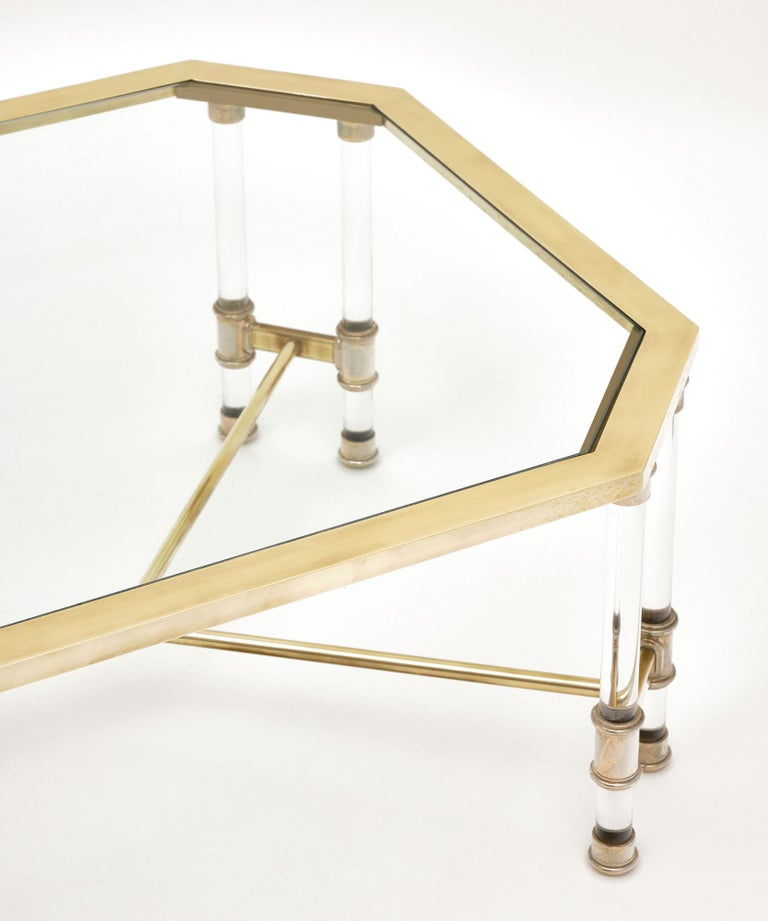 Mid-Century Modern Lucite and Brass Vintage French Coffee Table For Sale