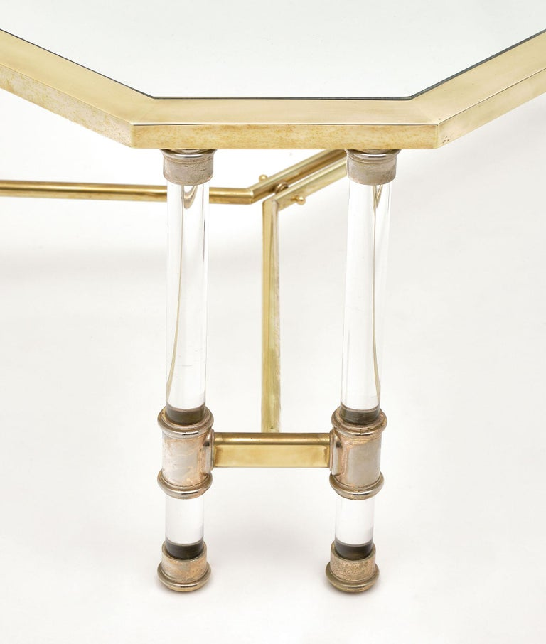 Late 20th Century Lucite and Brass Vintage French Coffee Table For Sale