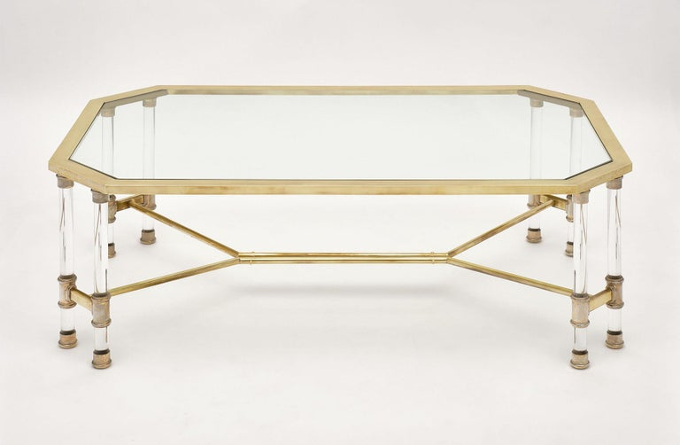 Lucite and Brass Vintage French Coffee Table For Sale 1