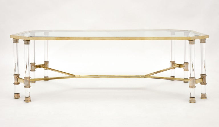 Lucite and Brass Vintage French Coffee Table For Sale 2