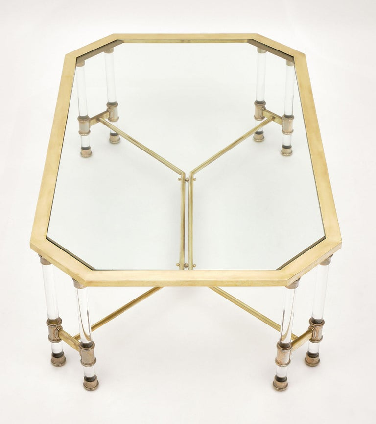Lucite and Brass Vintage French Coffee Table For Sale 3