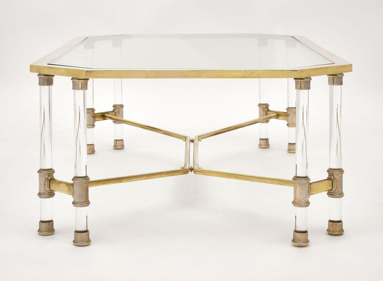Lucite and Brass Vintage French Coffee Table For Sale 4
