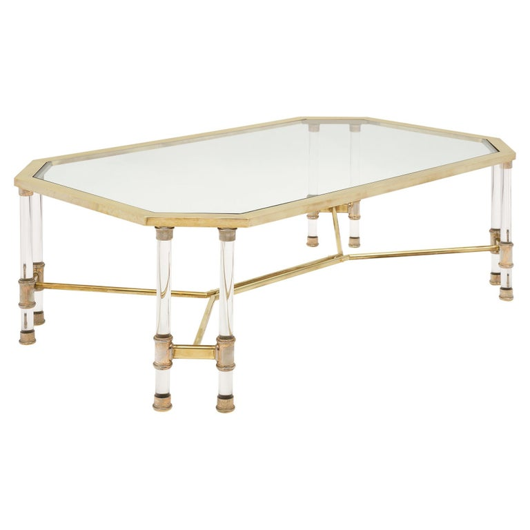 Lucite and Brass Vintage French Coffee Table For Sale