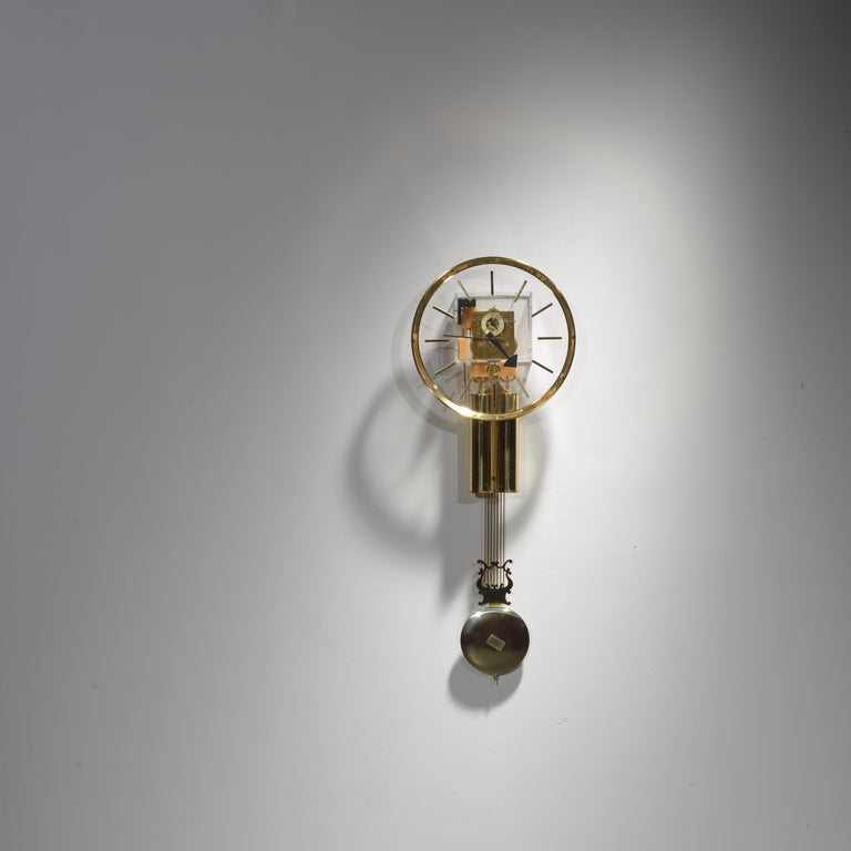Mid-Century Modern Lucite and Brass Wall Clock by George Nelson for Howard Miller For Sale