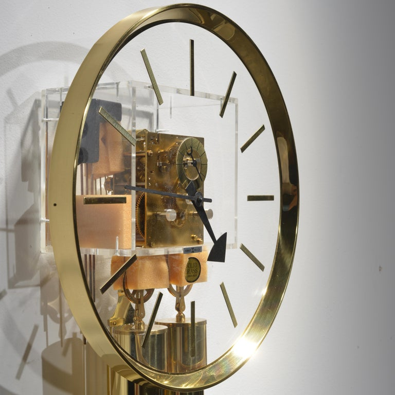 American Lucite and Brass Wall Clock by George Nelson for Howard Miller For Sale