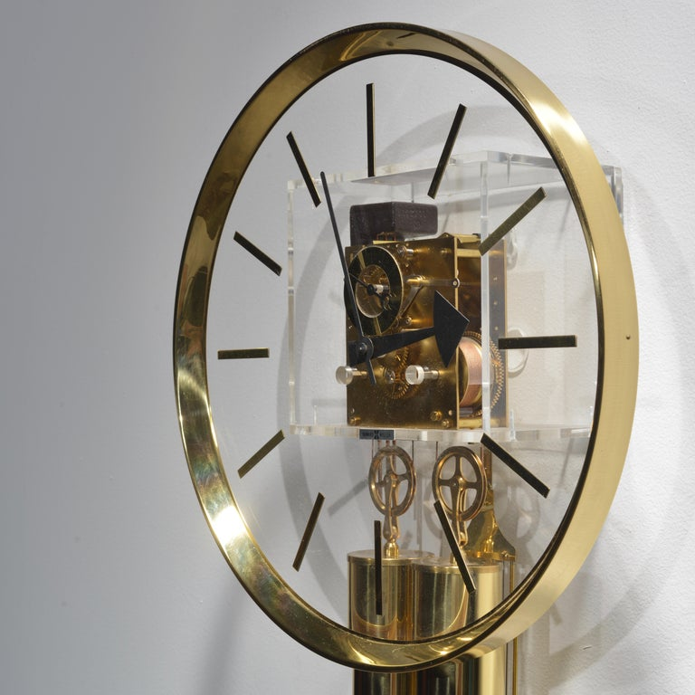 Mid-20th Century Lucite and Brass Wall Clock by George Nelson for Howard Miller For Sale