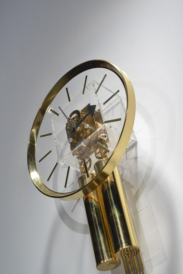 Lucite and Brass Wall Clock by George Nelson for Howard Miller For Sale 2