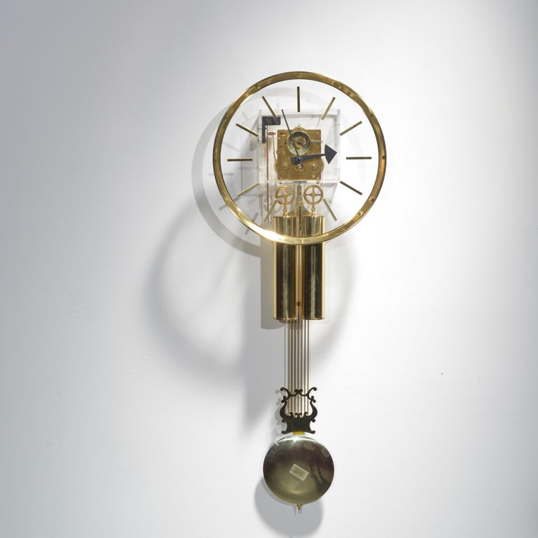 Lucite and Brass Wall Clock by George Nelson for Howard Miller For Sale 3