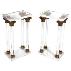 Lucite and Bronze Column Nightstands