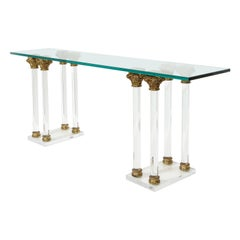 Lucite and Bronze Console Table