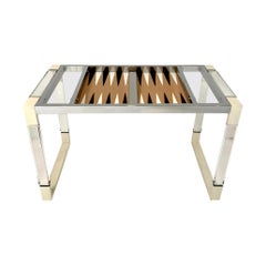 Lucite and Chrome Backgammon Table