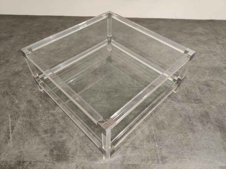 Hollywood Regency Lucite and Chrome Coffee Table, 1970s For Sale