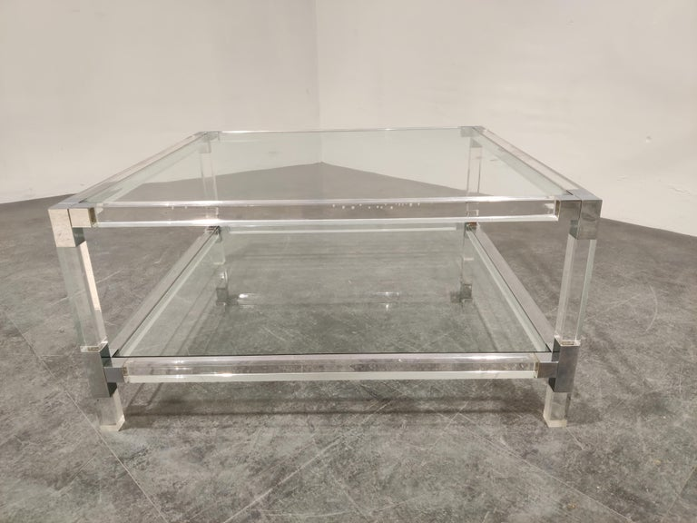 Belgian Lucite and Chrome Coffee Table, 1970s For Sale