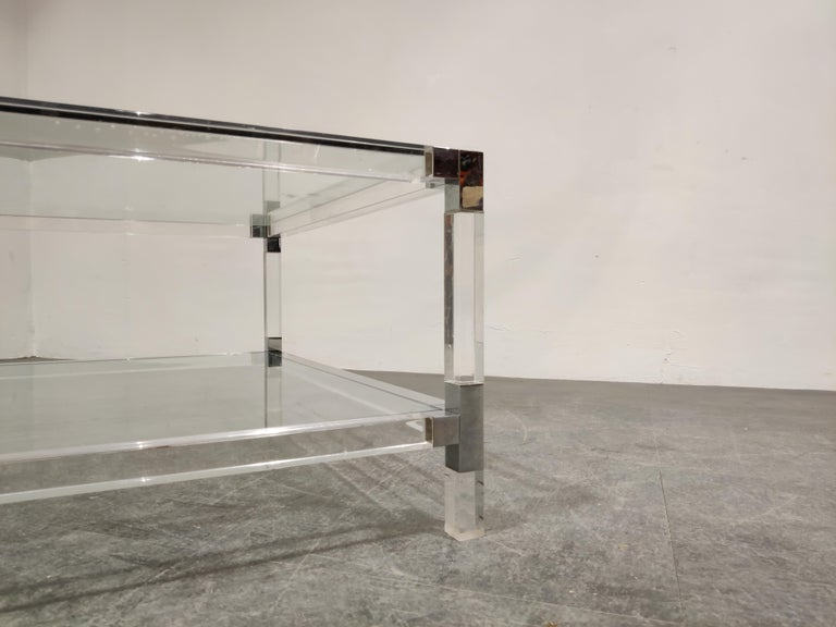 Late 20th Century Lucite and Chrome Coffee Table, 1970s For Sale
