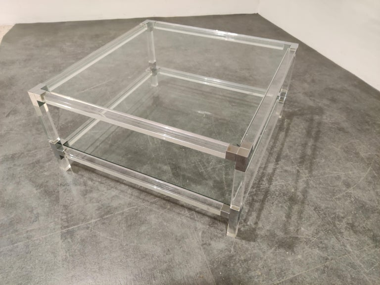 Glass Lucite and Chrome Coffee Table, 1970s For Sale