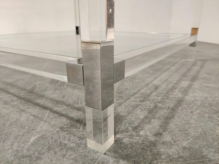 Lucite and Chrome Coffee Table, 1970s For Sale 1