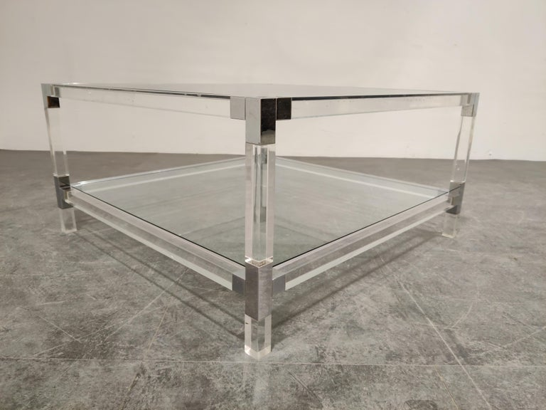 Lucite and Chrome Coffee Table, 1970s For Sale 2