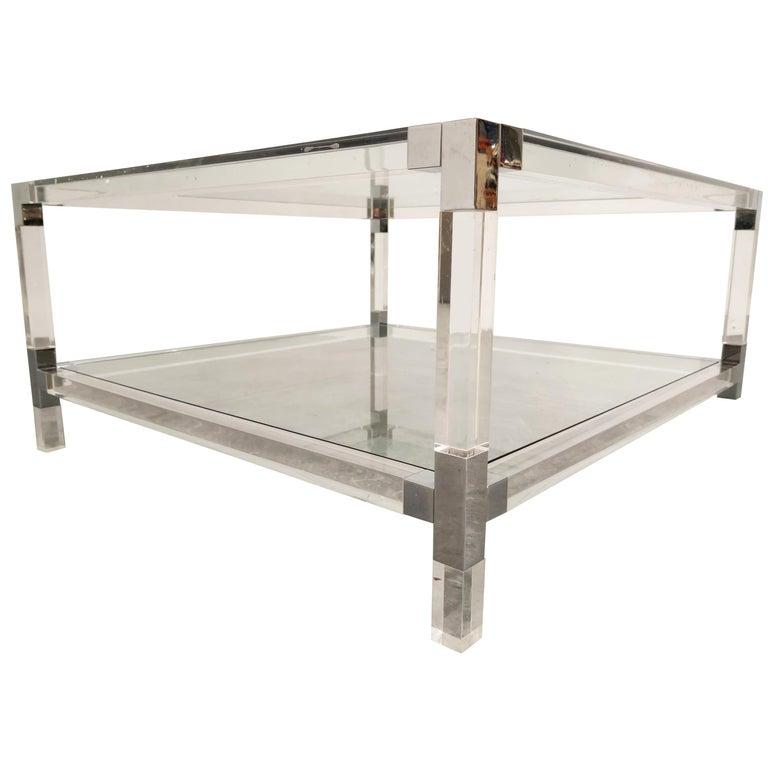 Lucite and Chrome Coffee Table, 1970s For Sale