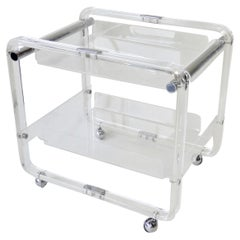 Lucite and Chrome Drinks Cart with Removable Top Tier Serving Tray