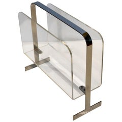 Lucite and Chrome Magazine Holder Attributed to Milo Baughman