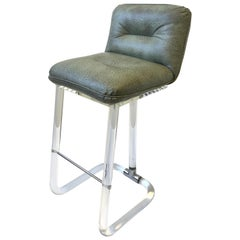 Lucite and Chrome Swivel Barstool by Lion in Frost