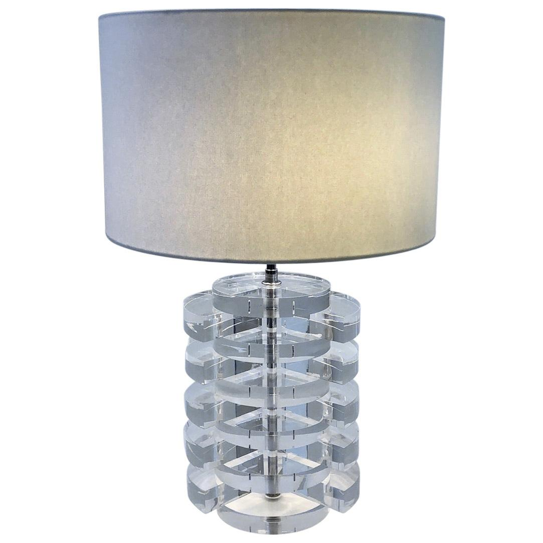 Lucite and Chrome Table Lamp by Karl Springer