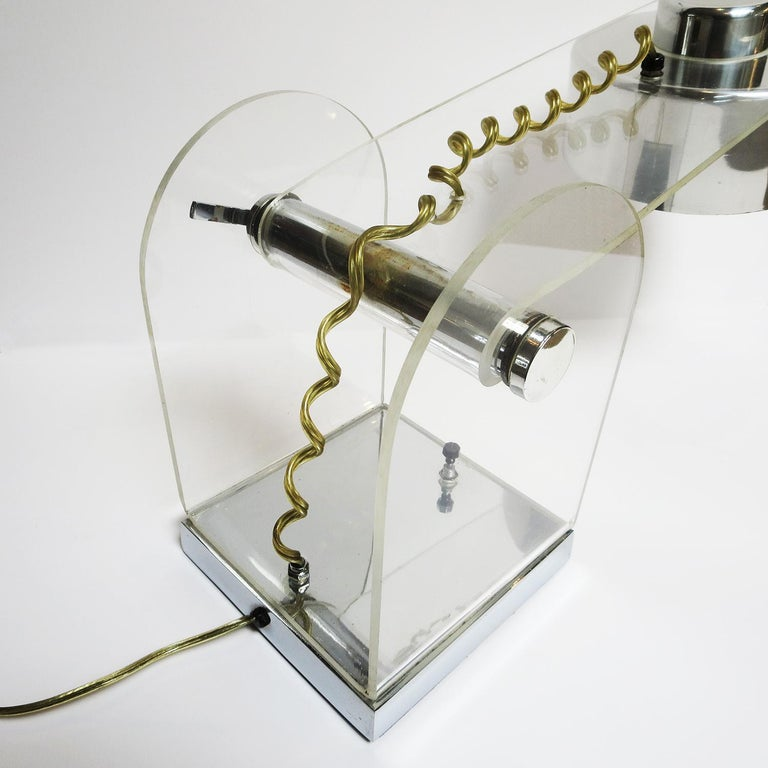 Polished Lucite and Chrome Table or Desk Lamp For Sale