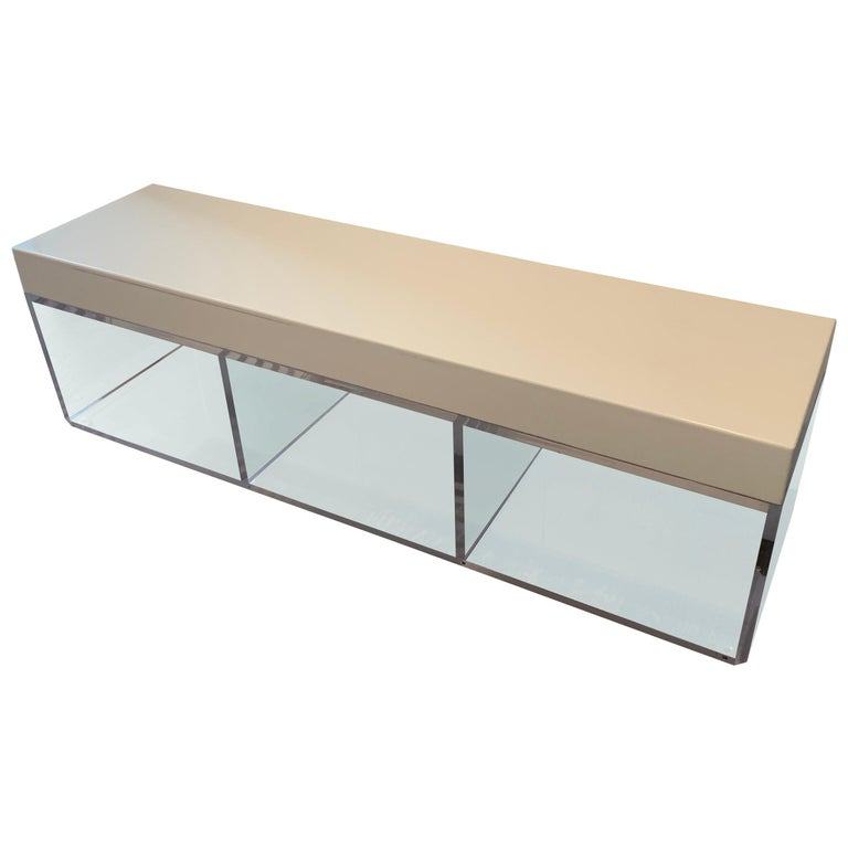 Lucite and Corian Bench by Cain Modern For Sale