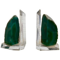 Lucite and Emerald Geode Bookends