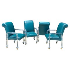 Lucite and Emerald Green Leather Set of 4 Dining Chairs on Casters