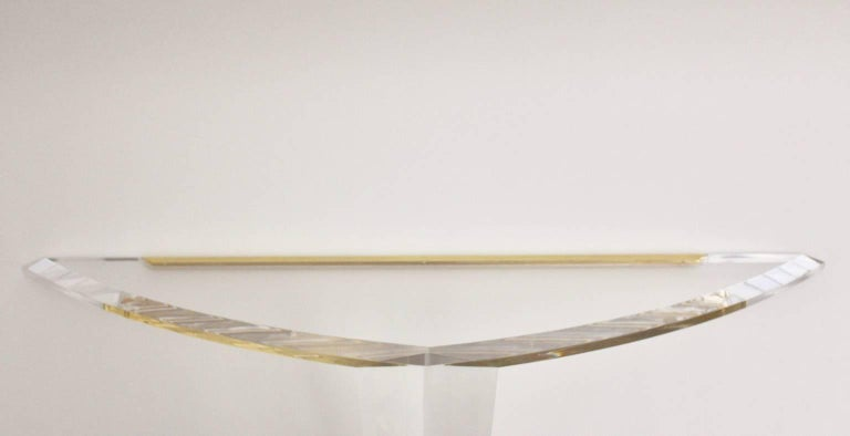 Lucite and Gilded Wall Console Table, 1970s For Sale 5