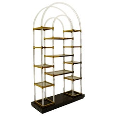 Lucite and Glass Arc Shelving, 1970s