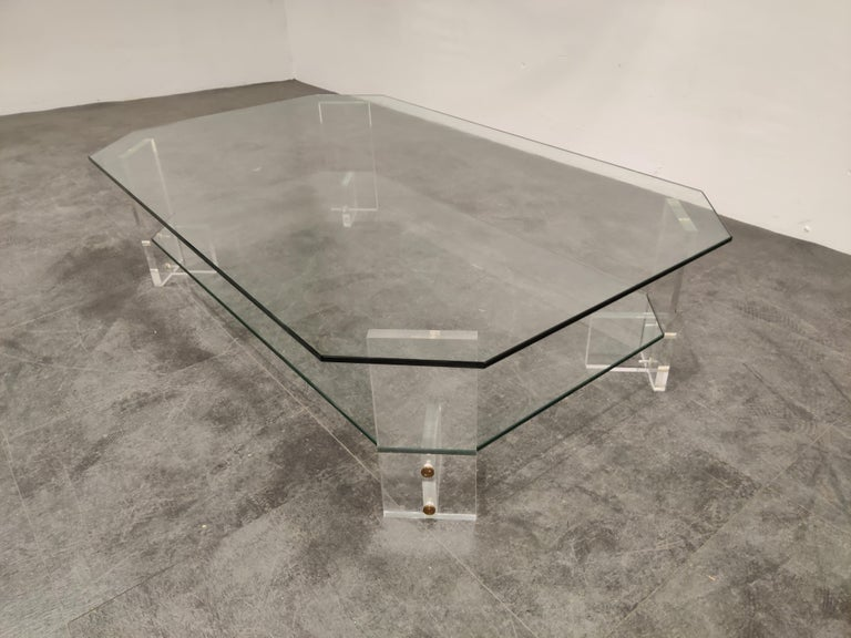Hollywood Regency Lucite and Glass Coffee Table, 1970s For Sale