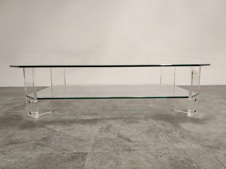 Belgian Lucite and Glass Coffee Table, 1970s For Sale
