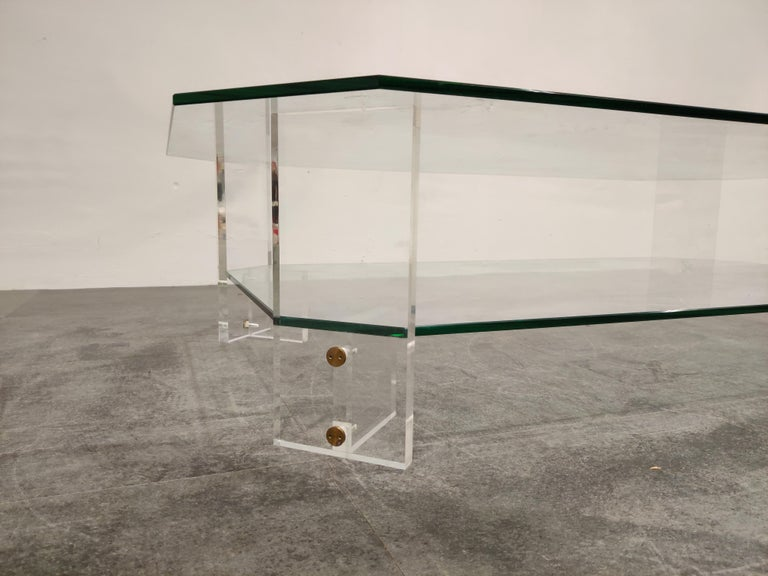 Late 20th Century Lucite and Glass Coffee Table, 1970s For Sale