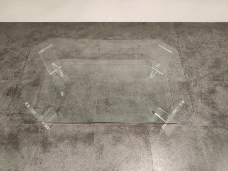 Brass Lucite and Glass Coffee Table, 1970s For Sale